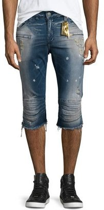 Robin's Jeans Motard Distressed Past-Knee Denim Shorts, Blue $495 thestylecure.com
