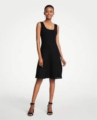 Ann Taylor Petite Scalloped Knit Flare Dress