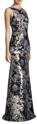 David Meister Metallic Jacquard Gown