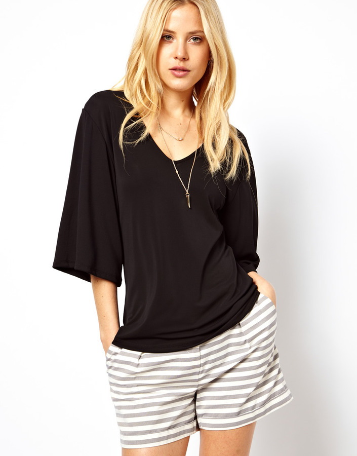 Asos Top with V-Neck in Crepe