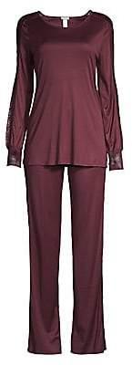 Hanro Women's Two-Piece Amanda Lace Trim Pajama Set