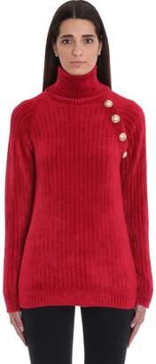 Balmain Button Turtleneck Cable-knit Sweater