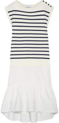 3.1 Phillip Lim - Merino Wool-blend And Silk And Cotton-blend Dress - Off-white $695 thestylecure.com