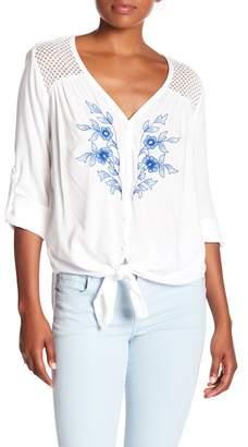 Karen Kane Embroidered Button Down Shirt