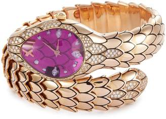 Roberto Coin 'Cobra' diamond amethyst 18k rose gold watch