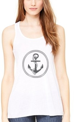 Clementine Apparel Women's Boat Anchor Printing Flowy Racerback Tank Top