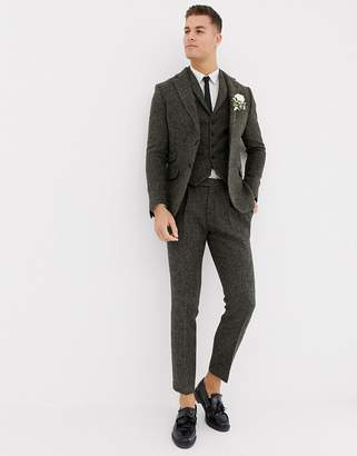 Asos Design DESIGN slim suit trousers in 100% wool Harris Tweed khaki micro check