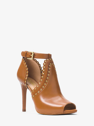 Michael Kors Jessie Leather Open-Toe Bootie