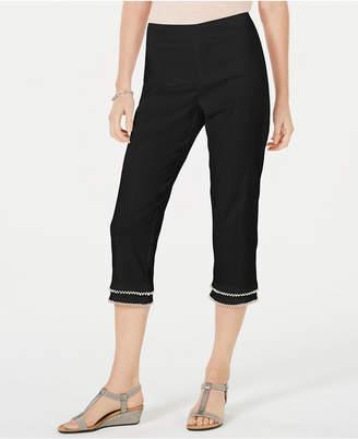JM Collection Double-Tier Embellished Capri Pants
