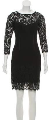 Aidan Mattox Lace-Trimmed Cocktail Dress