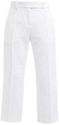 Alexandre Vauthier Straight Leg Cropped Cotton Tweed Trousers - Womens - White