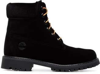 a9bf43cd2 Off-White X Timberland black velvet boots
