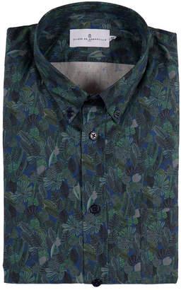 Cuisse de Grenouille リーフ柄 胸ポケット 長袖 ボタンダウンシャツ ダークネイビー/グリーン s