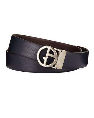 Giorgio Armani Logo-Buckle Vitello Belt, Blue/Brown