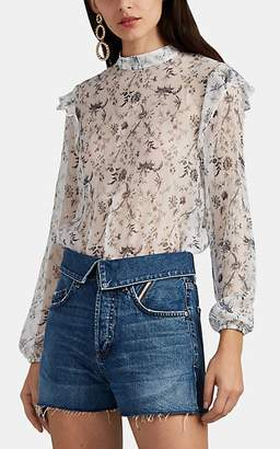 SIR The Label Women's Posey Sheer Floral Silk Chiffon Crop Blouse - White