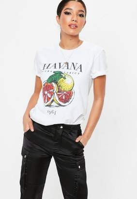 Missguided White Havana Washed Graphic T Shirt, White