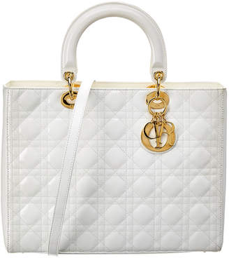 Christian Dior White Quilted Patent Leather Large Lady