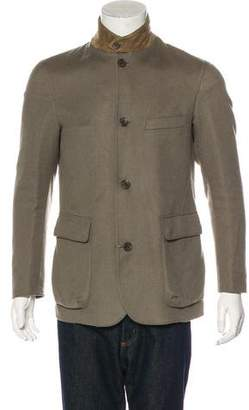 Loro Piana Cashmere Suede-Trimmed Double-Faced Roadster Jacket