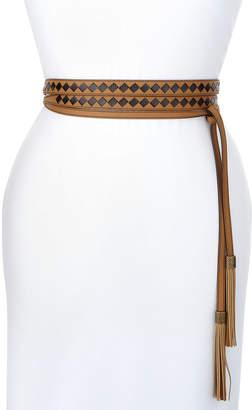 Bottega Veneta Two-Tone Lambskin & Snakeskin Intrecciato Belt