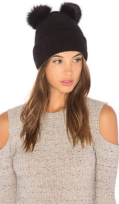 Autumn Cashmere Double Fox Fur Pom Pom Beanie