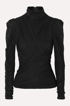 Isabel Marant Jalford Ruched Stretch-jersey Turtleneck Top - Black