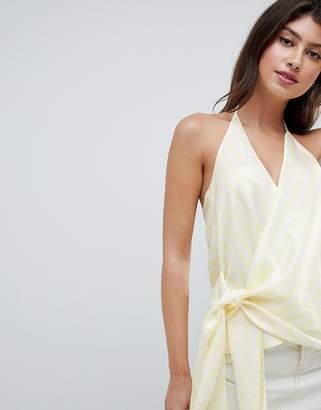 Asos Design DESIGN drape cami in pastel stripe