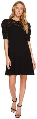 Rebecca Taylor Short Sleeve Crepe Lace Dress Women's Dress