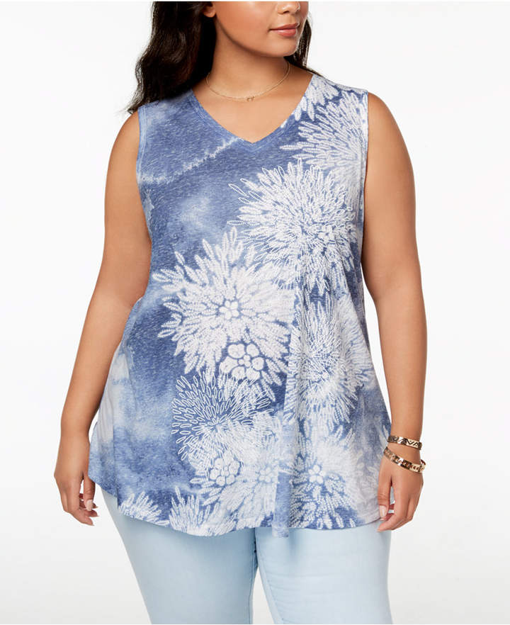 Style & Co Plus Size Printed Tank Top, Created for Macy's