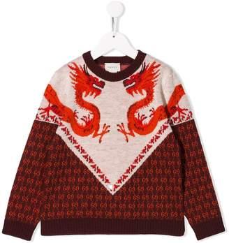 Dragon Optical Gucci Kids knitted sweatshirt
