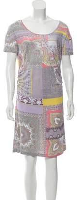 Etro Paisley Print Mini Dress Purple Paisley Print Mini Dress