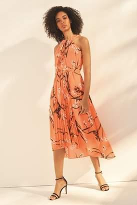 Next Womens Karen Millen Orange Pleated Floral Dress