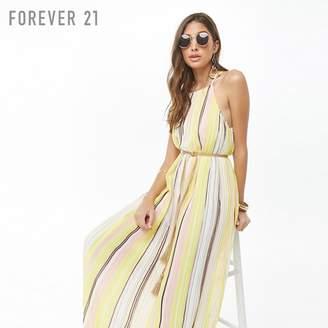Forever 21 (フォーエバー 21) - Forever 21 ストライププリーツロングワンピース