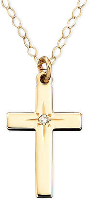 "Macy's Children's 15"" Diamond Accent Cross Pendant in 14k Gold"
