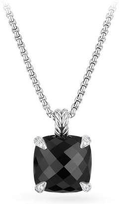 David Yurman 14mm Châtelaine Onyx Pendant Necklace with Diamonds