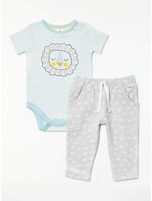 John Lewis GOTS Organic Cotton Lion Bodysuit and Leggings Set, Blue