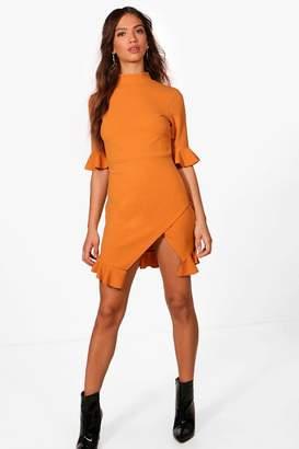 boohoo Ruffle Hem Asymmetric Mini Dress