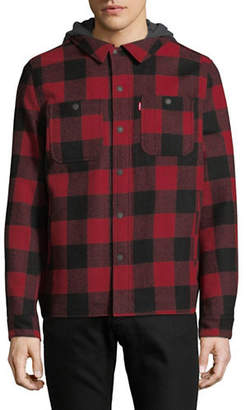 Levi'S Plaid Wool-Blend Hooded Shirt Jacket