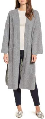 Halogen Cable Knit Long Cashmere Cardigan