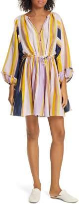 Apiece Apart La Flutte Stripe Cotton & Silk Minidress