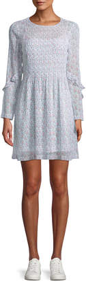 Club Monaco Catira Pleated Mini Floral-Print Silk Dress