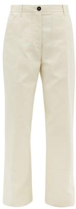 Jil Sander High Rise Cotton Pique Trousers - Womens - Beige