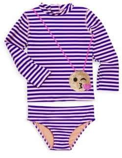 Little Girl's Two-Piece Striped Rash Guard Set