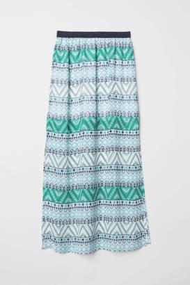H&M Long Skirt - Black/roses - Women