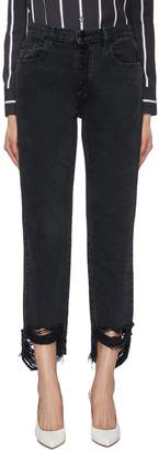 J Brand 'Wynne' ripped staggered cuff straight leg jeans