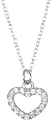 Argentovivo Sterling Silver Pave Heart Pendant Necklace