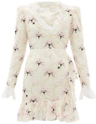 Giambattista Valli Floral Embroidered Chantilly Lace Mini Dress - Womens - Ivory Multi