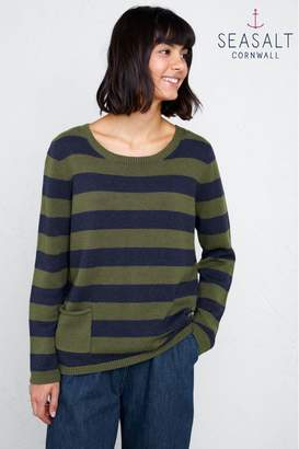 Womens Seasalt Petite Multi Stripe Facing West Jumper - Blue