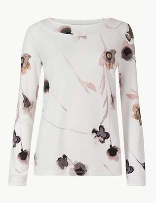 Marks and Spencer Floral Print Slash Neck Long Sleeve Blouse