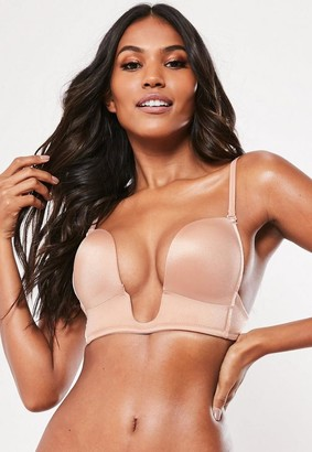 Missguided Seamless Deep Plunge Bra Nude