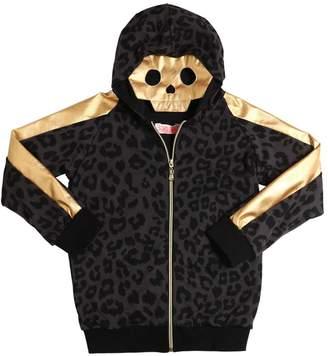 Bangbang Copenhagen Leopard Print Cotton Sweatshirt W/ Skull